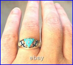 Ladies Mexican Fire Opal Ring 6 Sterling Silver 925 Sleeping Beauty Turquoise M