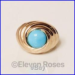 Large 585 14k Gold Sleeping Beauty Turquoise Turban Swirl Dome Ring 585 14k Gold