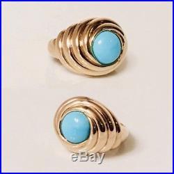 Large 585 14k Gold Sleeping Beauty Turquoise Turban Swirl Ring 585 14k Gold