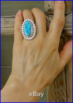 Large Navajo Sleeping Beauty Turquoise Silver Ring Size 5.5