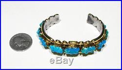Large OLD Signed Zuni QUAM 55.4g 14k Gold Sleeping Beauty Turquoise 925 Bracelet