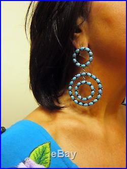 Large Sleeping Beauty Turquiose/925 Hoop Earrings by Navajo Eleanor Largo