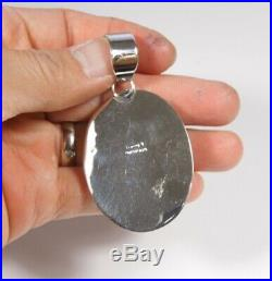 Large Sleeping Beauty Turquoise & Spiny Oyster Sterling Silver Cluster Pendant
