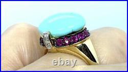 LeVian 14K Gold Sleeping Beauty Turquoise Diamond Ring Size 7
