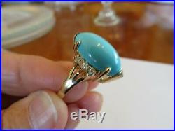 LeVian 14K YELLOW GOLD SLEEPING BEAUTY TURQUOISE & DIAMOND RING 20.5 MM LONG