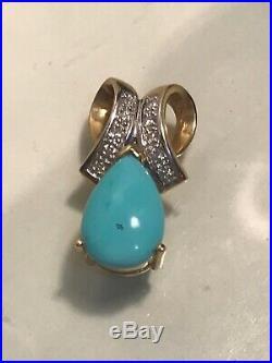LeVian 14k Yellow Gold Sleeping Beauty Blue Turquoise Diamond Ribbon Bow Pendant