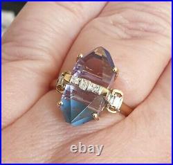 Lehrer Cosmic Obelisk Rose De France Amethyst & Sleeping Beauty Ring Size P