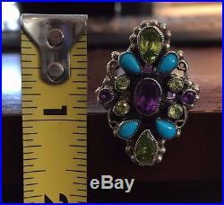 Leo Feeney Amethyst, Sleeping Beauty Turquoise & Peridot Ring, Size 7
