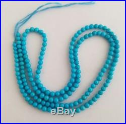 Light Blue Natural Sleeping Beauty Turquoise Round 2.7-3mm Beads Necklace