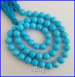 Light Blue Natural Sleeping Beauty Turquoise Round 9mm Beads Necklace