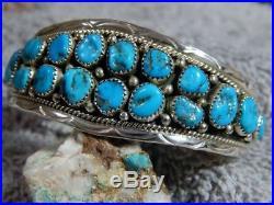 Light Weight Sterling Bracelet Sleeping Beauty Turquoise Navajo Anita Whitegoat
