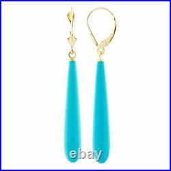 Long Sleeping Beauty Turquoise Teardrop Dangle Earrings in 14K Yellow Gold Over