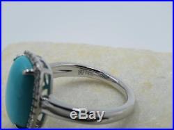 Lorenzo Solid 14k White Gold Sleeping Beauty Turquoise Wt Topaz Ring Size 7.25