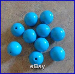 Lot 10 Round Arizona Blue Sleeping Beauty Turquoise Beads 12mm Rounds Vtg
