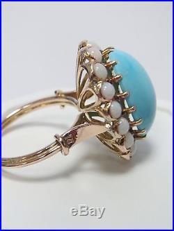 Lovely Vintage 14K Gold Sleeping Beauty Turquoise & Opal Ring Size 6.25 12X17mm