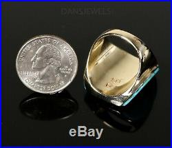 MEN'S Vintage Old Pawn NAVAJO 14K Yellow Gold Sleeping Beauty Turquoise Ring 11