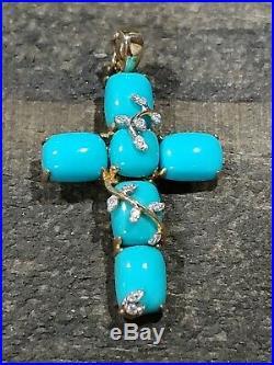 MICHELLE ALBALA Turquoise & 14K Yellow GOLD with DIAMONDS Cross Sleeping Beauty
