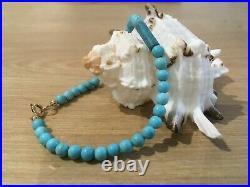 MINAS Fine 9ct Yellow Gold Sleeping Beauty Turquoise Bracelet size 7.5 SALE