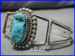 Magnificent Vintage Navajo Sleeping Beauty Turquoise Sterling Silver Bracelet