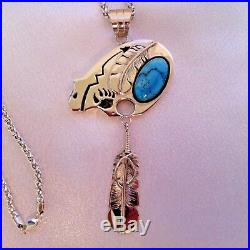 Make An Offer Navajo Sterling Silver, Sleeping Beauty Turquoise Bear Necklace