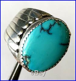 Marc Begay MB Navajo Sleeping Beauty Turquoise Mens Ring Sterling Sz 9.25