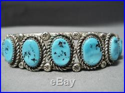 Marvelous Vintage Navajo Sleeping Beauty Turquoise Sterling Silver Bracelet Old