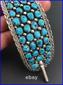 Massive 4 Vtg Navajo Sterling Silver Sleeping Beauty Turquoise Hair BARRETTE