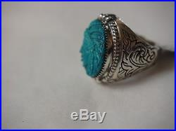Men's Carved Indian Head Sleeping Beauty Turquoise Ring Sterling Silver size 12