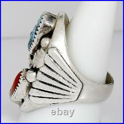Men's Large Navajo Indian Handmade Ring 925 SOLID Silver Natural Turquoise Coral