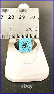 Men's Sleeping Beauty Turquoise Unique Design Ring Custom Sterling. 925 Size 12