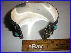 Mexican sterling silver million drops sleeping beauty turquoise cuff bracelet
