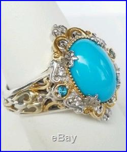 Michael Valitutti Sleeping Beauty Turquoise and London Blue Topaz Ring Size 10