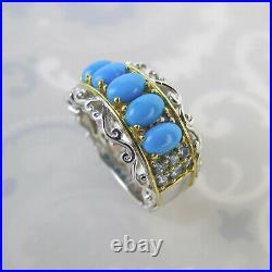 Michael Valitutti Sterling sleeping beauty turquoise Gems en Vogue ring sz 9
