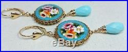 Micro Mosaic Earrings, Sleeping Beauty Turquoise, Grand Tour