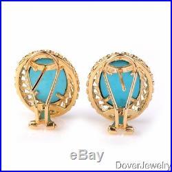 Modern 6.46ct Sleeping Beauty Turquoise Sapphire 14K Gold Earrings 8.3 Grams NR