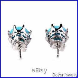 Modern 8.00ct Sleeping Beauty Turquoise 14K White Gold Earrings NR