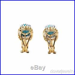 Modern Diamond 7.54ct Sleeping Beauty Turquoise 14K Yellow Gold Earrings NR