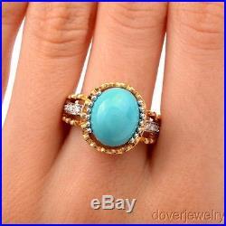 Modern Diamond Sleeping Beauty Turquoise 14K Gold Ring 6.4 Grams NR