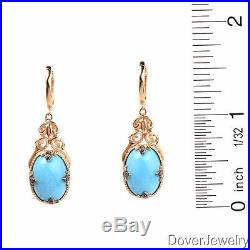 Modern Diamond Sleeping Beauty Turquoise 14K Yellow Gold Dangle Earrings NR