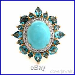 Modern Diamond Topaz Sleeping Beauty Turquoise 14K Gold Ring 6.2 Grams NR