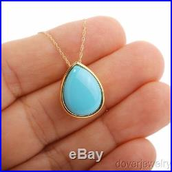 Modern Sleeping Beauty Turquoise 14K Yellow Gold Drop Pendant Necklace NR