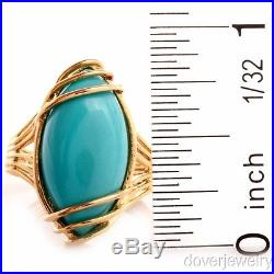 Modern Sleeping Beauty Turquoise 14K Yellow Gold Ring 5.0 Grams NR