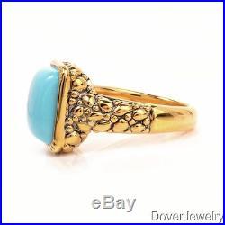 Modern Sleeping Beauty Turquoise 14K Yellow Gold Ring NR