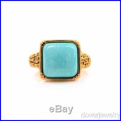 Modern Sleeping Beauty Turquoise Cabochon 14K Yellow Gold Ring NR