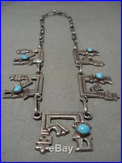 Museum Vintage Navajo'yeibichai Old Sleeping Beauty Turquoise' Silver Necklace