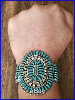 N & R Nez Needlepoint Sleeping Beauty Turquoise Cuff Bracelet 42.3 Grams