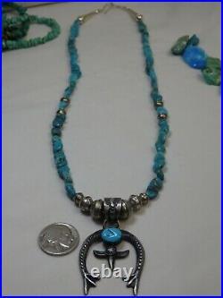 NAVAJO E Billah SLEEPING BEAUTY Turquoise STERLING NAJA 21 KINGMAN Necklace