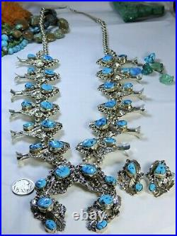 NAVAJO Harry Yazzie SLEEPING BEAUTY TURQUOISE STERLING Silver SQUASH BLOSSOM Set