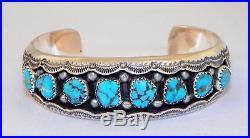 Navajo Madewilbur Musketsterlingsleeping Beauty Turquoiseshadowbox Bracelet