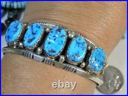 NAVAJO Patrick Yazzie SLEEPING BEAUTY TURQUOISE STERLING Silver 34g CUFF signed